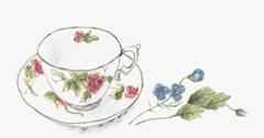 花の絵のカップ